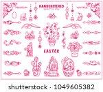 vintage doodle spring or easter ... | Shutterstock .eps vector #1049605382