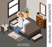 early morning awakening... | Shutterstock .eps vector #1049606705
