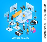 virtual reality vr experience... | Shutterstock .eps vector #1049606735