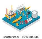 oil gas industry jack up... | Shutterstock .eps vector #1049606738