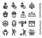 labour icon set | Shutterstock .eps vector #1049610098