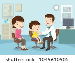 mom and boy to see doctor... | Shutterstock .eps vector #1049610905