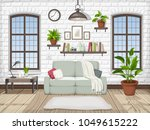 vector loft living room... | Shutterstock .eps vector #1049615222