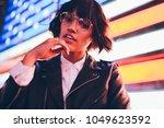 portrait of charming fashion... | Shutterstock . vector #1049623592