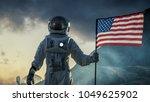 astronaut wearing space suit... | Shutterstock . vector #1049625902