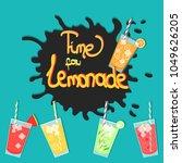 lemonade splashes in glasses ... | Shutterstock .eps vector #1049626205