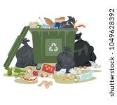 garbage bin full of trash on... | Shutterstock .eps vector #1049628392
