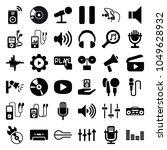 audio icons. set of 36 editable ...   Shutterstock .eps vector #1049628932