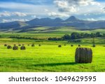 Haystacks In Green Grass With...