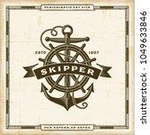 vintage skipper label. editable ... | Shutterstock .eps vector #1049633846
