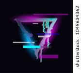 glitched triangle frame design. ... | Shutterstock .eps vector #1049634362