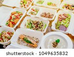 healthy food delivery. take... | Shutterstock . vector #1049635832