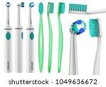 toothbrush dental mockup set....   Shutterstock .eps vector #1049636672