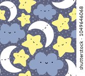 moon  cloud and stars cute... | Shutterstock .eps vector #1049646068