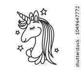 unicorn face doodle drawing.... | Shutterstock .eps vector #1049647772
