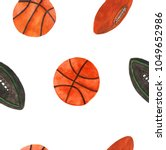 watercolor basketball and rugby ... | Shutterstock . vector #1049652986