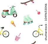 watercolor summer activity set | Shutterstock . vector #1049653046