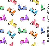 watercolor colorful scooter... | Shutterstock . vector #1049654006