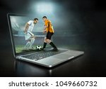 caucassian soccer players in... | Shutterstock . vector #1049660732