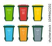 garbage bin set for sorting... | Shutterstock .eps vector #1049662202