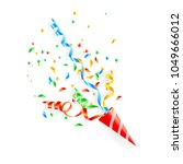 exploding party popper  vector | Shutterstock .eps vector #1049666012