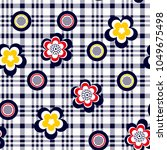 flowers and daisies pattern in...   Shutterstock .eps vector #1049675498