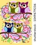 happy family of owls on... | Shutterstock .eps vector #1049679236