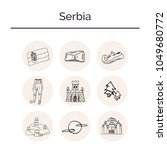 serbia hand drawn doodle set.... | Shutterstock .eps vector #1049680772