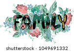 beautiful word family with... | Shutterstock .eps vector #1049691332