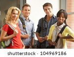 mixed group of students in... | Shutterstock . vector #104969186
