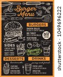 burger restaurant menu. vector... | Shutterstock .eps vector #1049696222