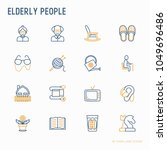 elderly people thin line icons... | Shutterstock .eps vector #1049696486