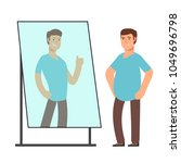 fat man looking on strong and... | Shutterstock .eps vector #1049696798