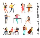 people performing music.... | Shutterstock .eps vector #1049696852