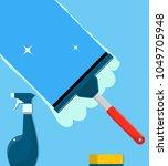 window cleaning. glass scraper... | Shutterstock .eps vector #1049705948