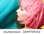 young model in pink wig.... | Shutterstock . vector #1049709332