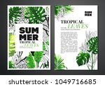 tropical palm leaves background.... | Shutterstock .eps vector #1049716685