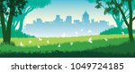 cheerful summer day in the park.... | Shutterstock . vector #1049724185