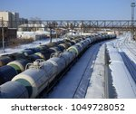 lot of cargo trains at station. ... | Shutterstock . vector #1049728052