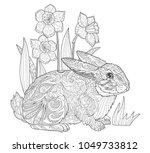 happy easter bunny coloring...   Shutterstock .eps vector #1049733812