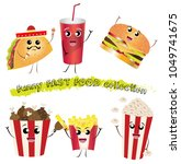 funny fast food collection.... | Shutterstock .eps vector #1049741675