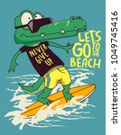 surfer crocodile vector design | Shutterstock .eps vector #1049745416