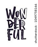 wonderful word handwritten with ...   Shutterstock .eps vector #1049758166