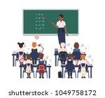 female math teacher explaining... | Shutterstock .eps vector #1049758172