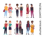 collection of young teenage...   Shutterstock .eps vector #1049758196