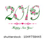2019 happy new year greeting... | Shutterstock . vector #1049758445