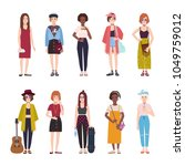 collection of teenage girls... | Shutterstock .eps vector #1049759012