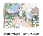 freehand drawing of backyard... | Shutterstock .eps vector #1049759036