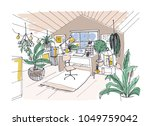 colored sketch of cozy cabinet  ... | Shutterstock .eps vector #1049759042