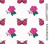 embroidery pink rose and pink... | Shutterstock .eps vector #1049772005